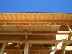 柱や梁のサイズをかえることにより町家の外観と快適な室内環境を作り出している。